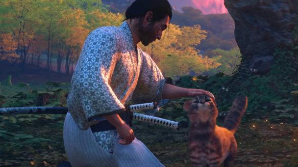 Ghost of Tsushima Director's Cut - główny bohater głaszcze kotka