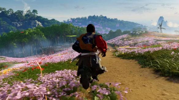 Ghost of Tsushima Director's Cut - główny bohater biegnie przez kwiecistą łąkę