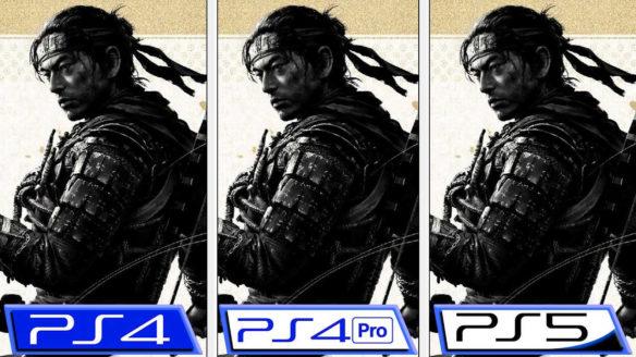 Ghost of Tsushima Director's Cut - porównanie PlayStation - 3 okładki obok siebie i podpisy konsol PS4, PS4 Pro oraz PS5