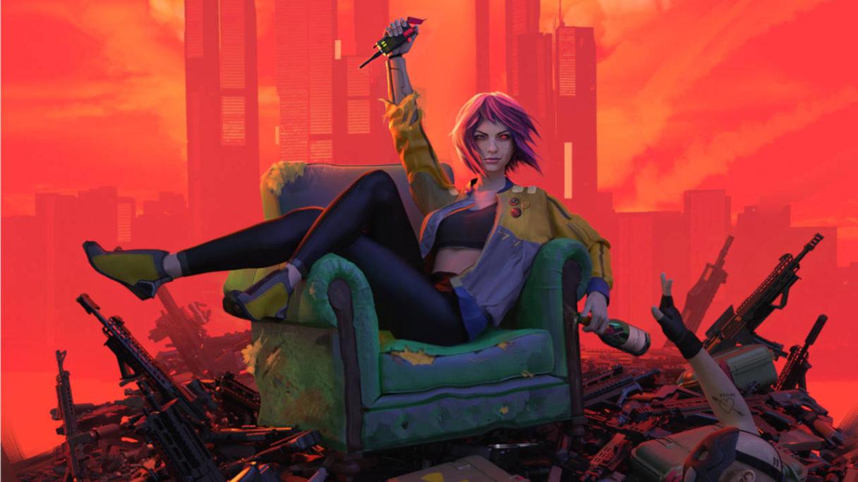 Glitchpunk - bohaterka siedzi na fotelu z granatem i butelką w rękach. Wokół masa broni i jakieś konające ciało