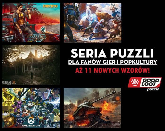Good Loot puzzle - grafika przedstawiająca nowe warianty z Overwatch, Far Cry 6, Resident Evil VII, World of Tanks i Wiedźmin 3