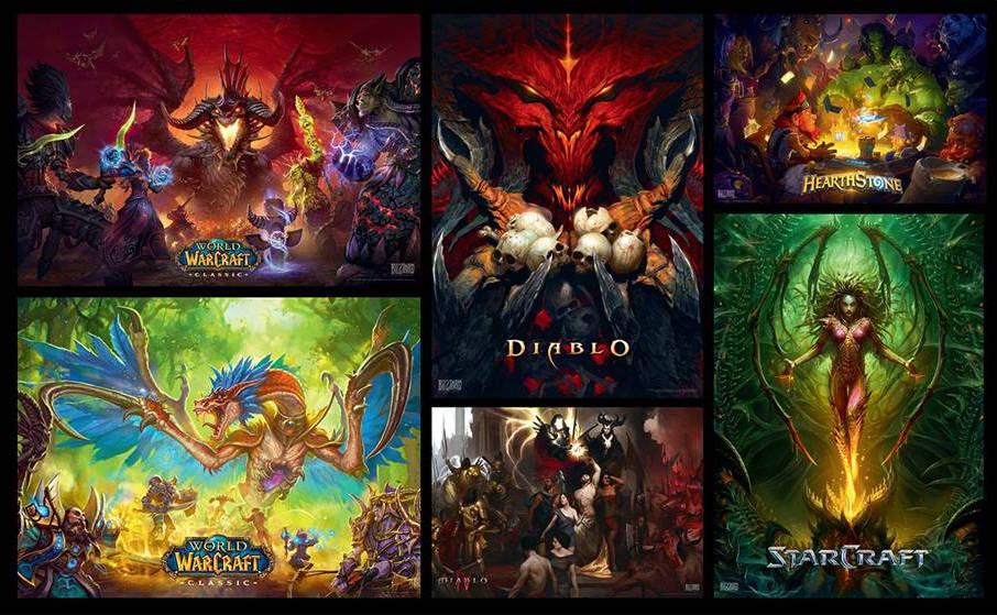 Good Loot puzzle - grafika przedstawiająca nowe warianty z World of Warcraft, Diablo, Diablo IV, Starcraft i Heartstone
