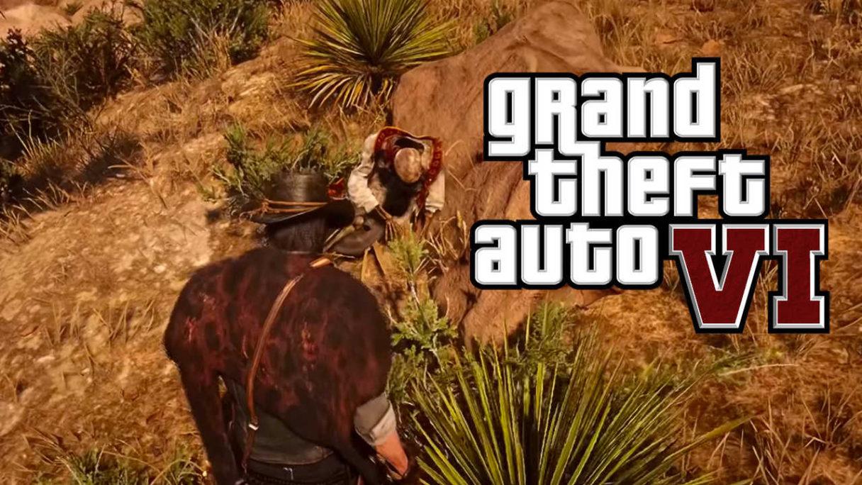 logo GTA VI na kadrze z Red Dead Redemption 2 - mężczyzna odnajduje ciało kardynała