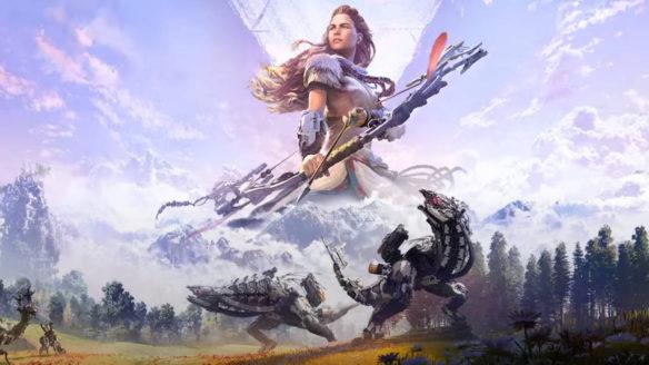 Horizon Zero Dawn Complete Edition - Aloy na tle gór i robo-dinozaurów