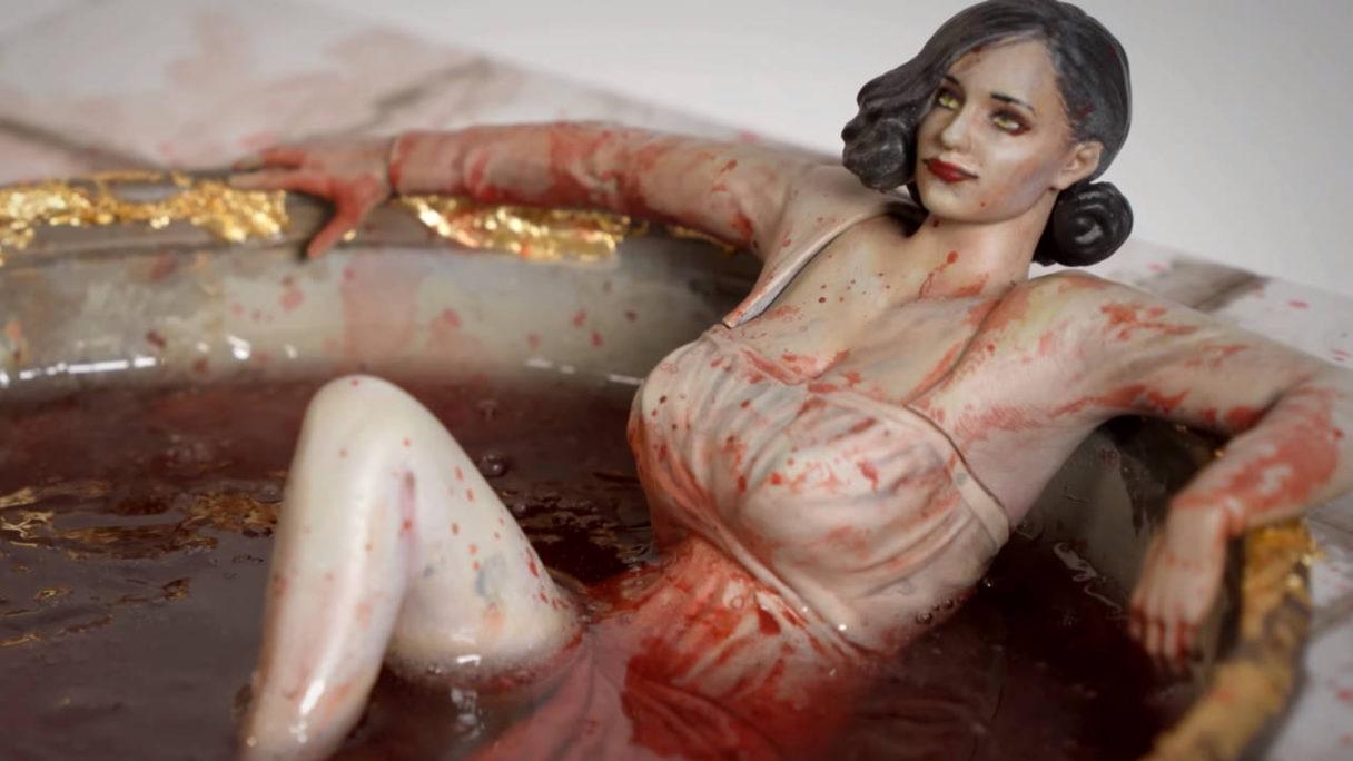 Lady Dimitrescu w wannie - postać z Resident Evil Village
