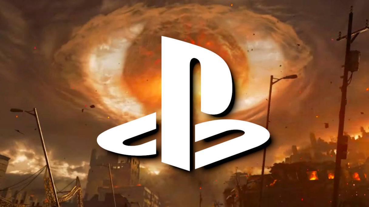 Logo PlayStation na tle eksplozji po wybuchu bomby