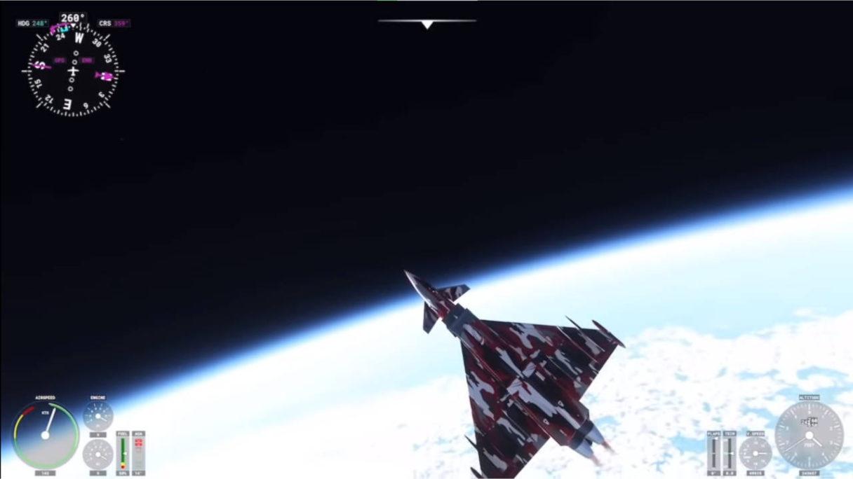 Microsoft Flight Simulator - odrzutowiec wleciał w Mezosferę