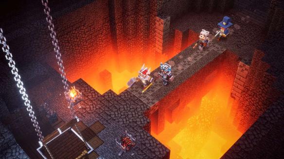 Minecraft Dungeons - darmowy tydzień - nintendo switch online - bohaterowie idą przez most nad jeziorem lawy