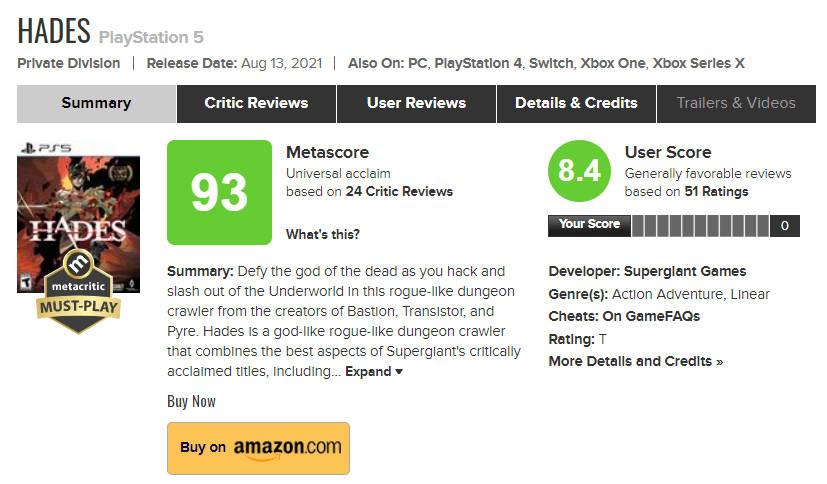 Najlepiej oceniana gra na PS5 - Hades - oceny na Metacritic
