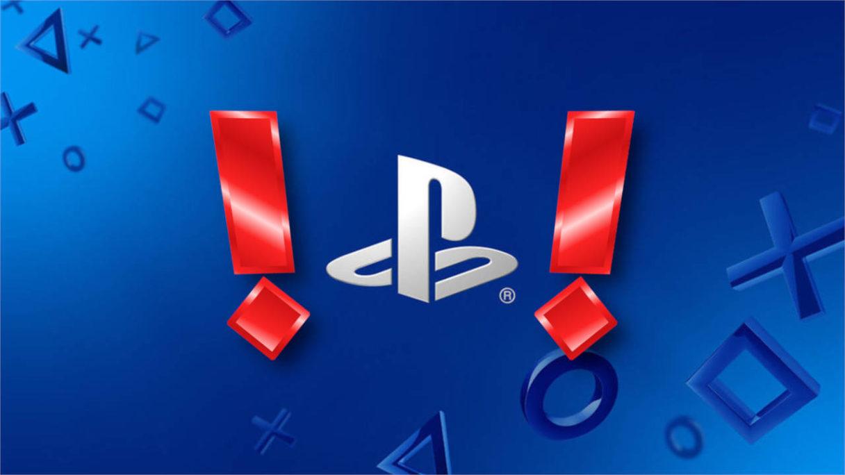 PlayStation logo i 2 czerwone wykrzykniki