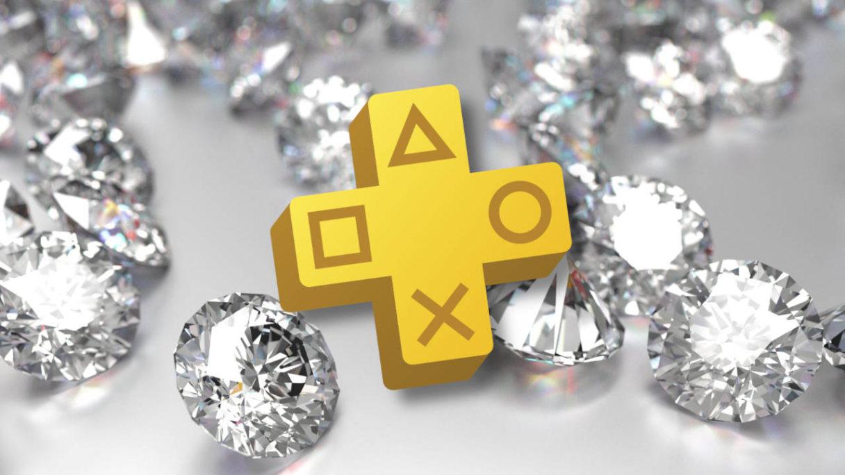 logo PS Plus na tle wielu diamentów
