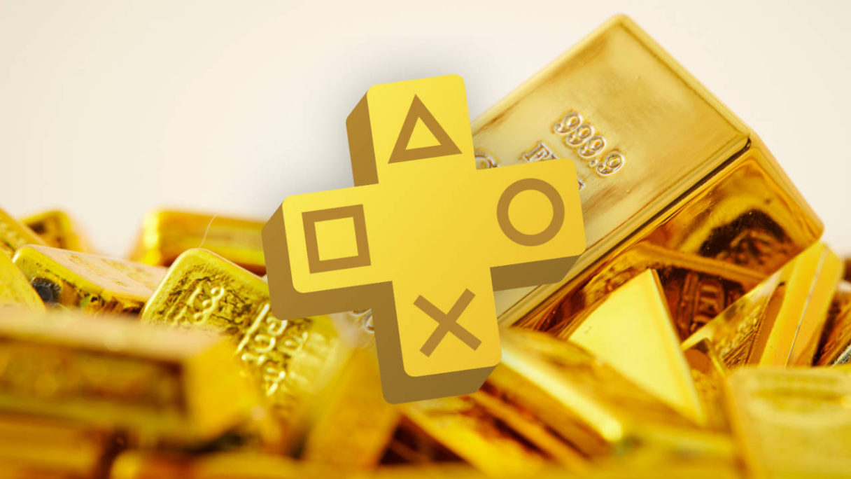 Logo PS Plus na tle sztabek złota