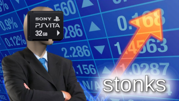 PS Vita Memory Card - meme Stonks z wklejoną kartą pamięci do PS Vita na twarz manekina