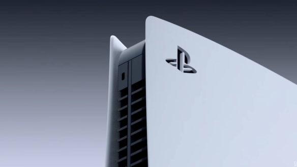 Zbliżenie na front PS5 od boku