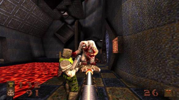 Quake - dwójka graczy strzela do przeraźliwego potwora
