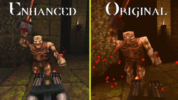 Quake Enhanced - porównanie z oryginałem - przeciwnik z piłą mechaniczną biegnie na gracza