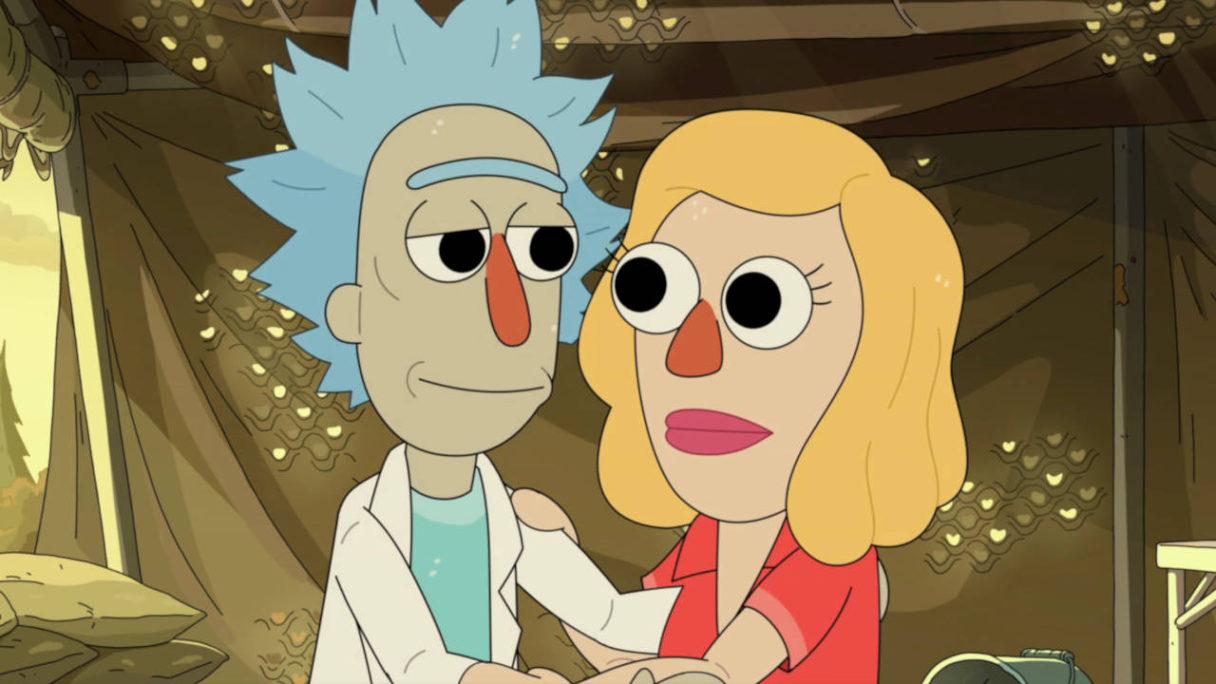 Rick and Morty - Rick i Beth w przebraniach muppetopodobnych przytulają się