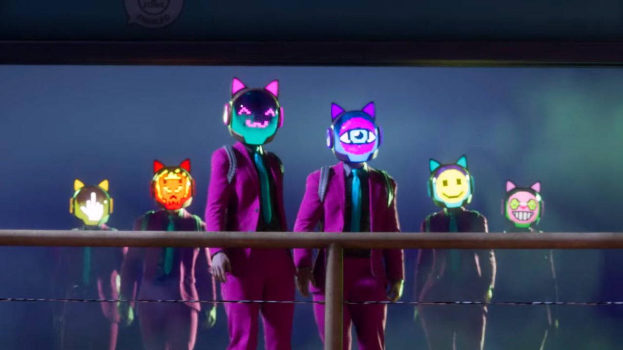 Saints Row - szóstka osób w garniturach z cybernetycznymi hełmami na głowach
