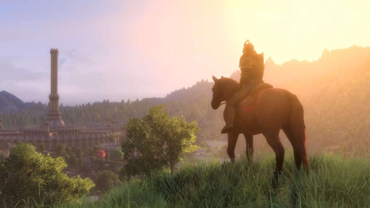 Skyblivion - rycerz na koniu patrzy ze wzgórza na wieżę i miasto w oddali