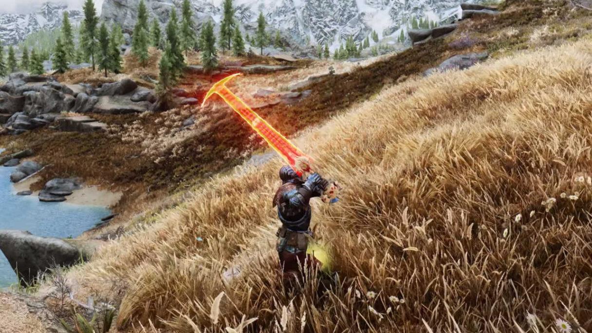 Skyrim na modach - Dragonborn biegnie przez górzystą łąkę z mieczem z DOOMa