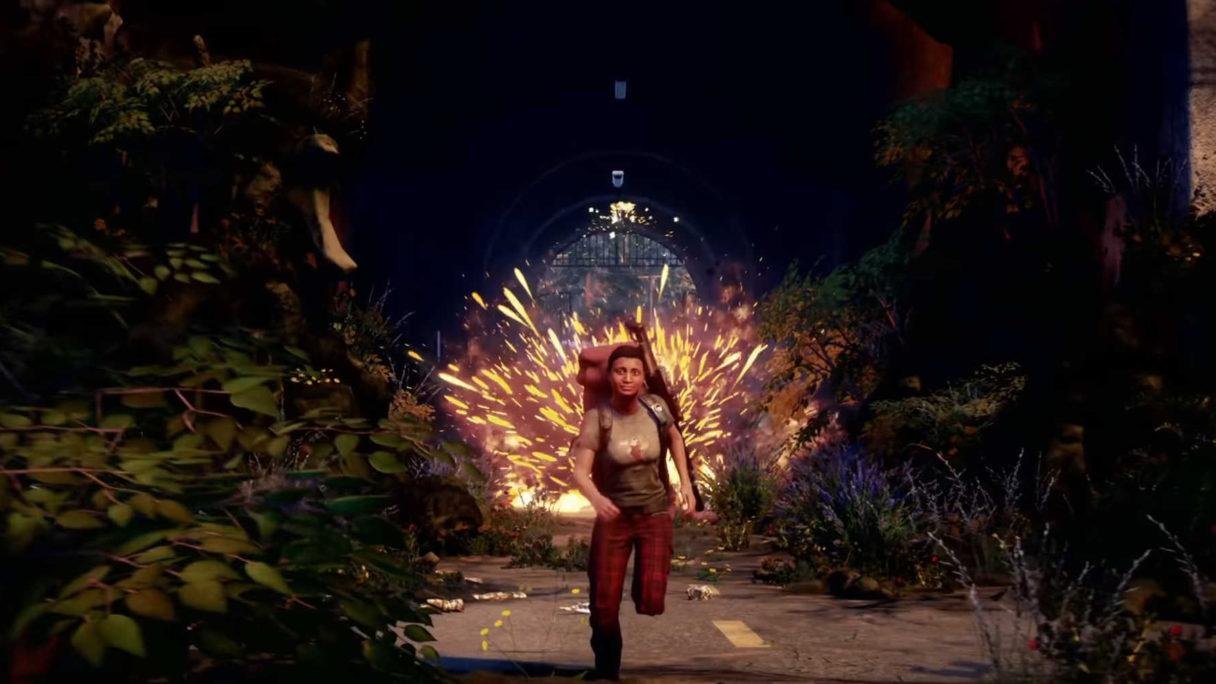 Kobieta ucieka przed wybuchem