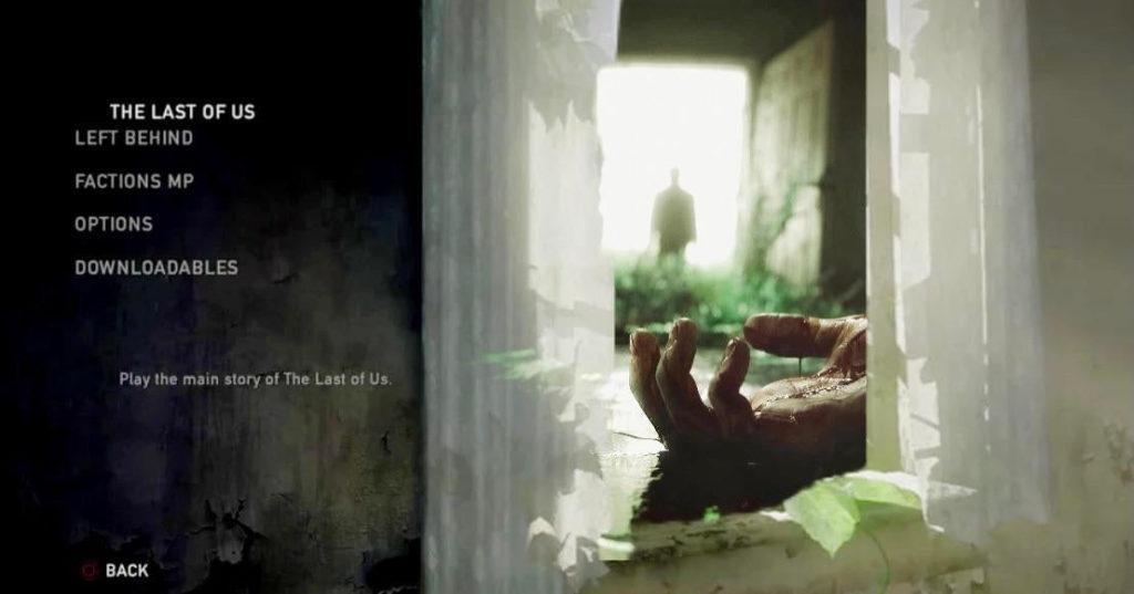 The Last of Us - grafika koncepcyjna nowego menu z widokiem na martwą dłoń i ludzką sylwetkę w oddali