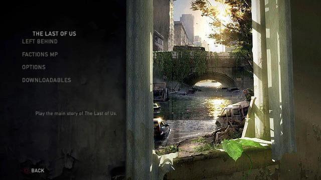 The Last of Us - grafika koncepcyjna nowego menu z widokiem na most w mieście na tle ładnego słońca