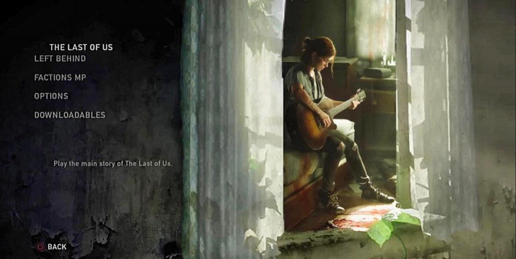 The Last of Us - grafika koncepcyjna nowego menu z widokiem na Ellie grającą na gitarze w pokoju