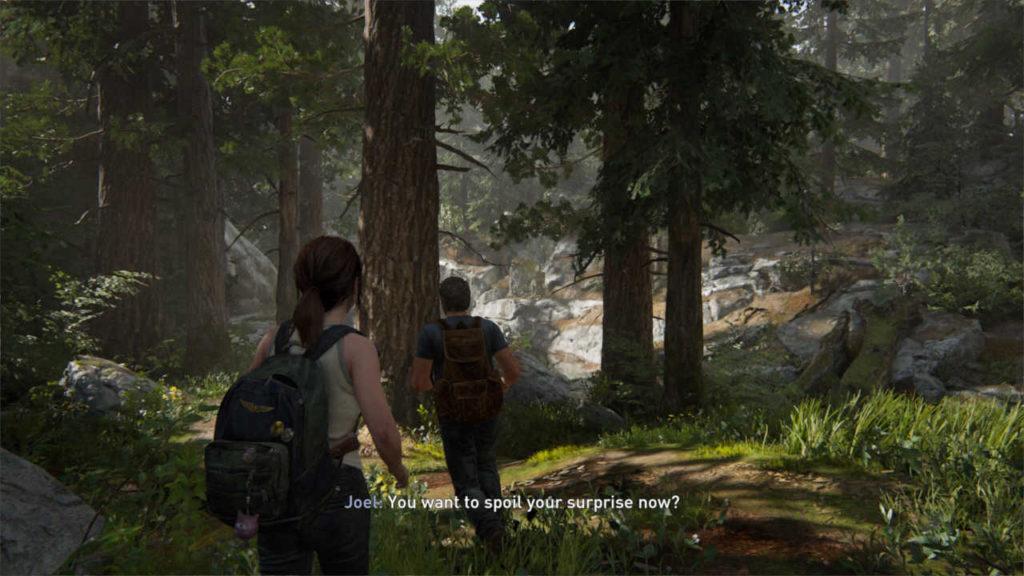 The Last of Us Part II - Joel prowadzi Ellie do niespodzianki urodzinowej w lesie