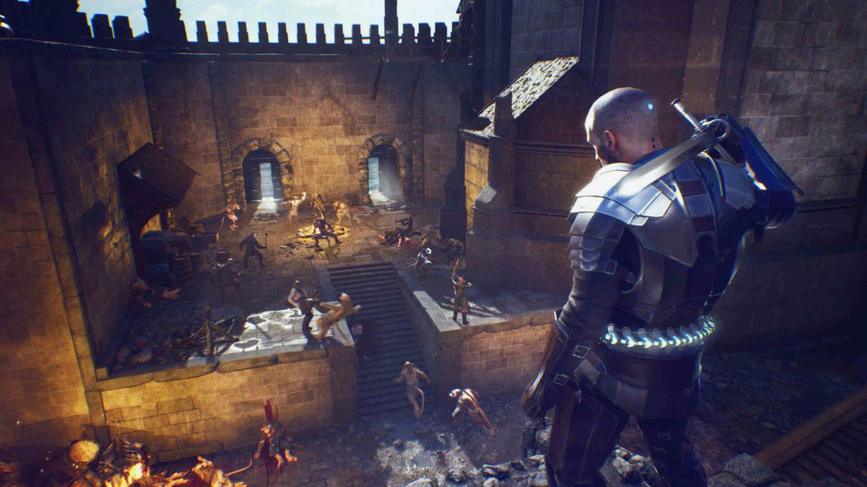 Mężczyzna w zbroi i mieczu spogląda na pole bitwy w zamku.