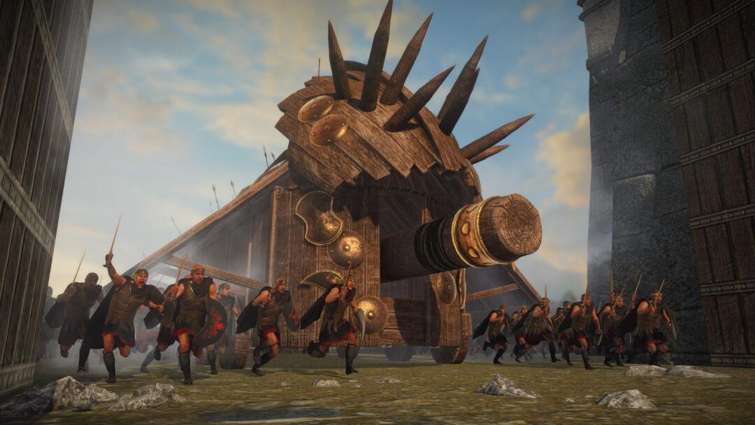 Taran niszczy bramę zamku