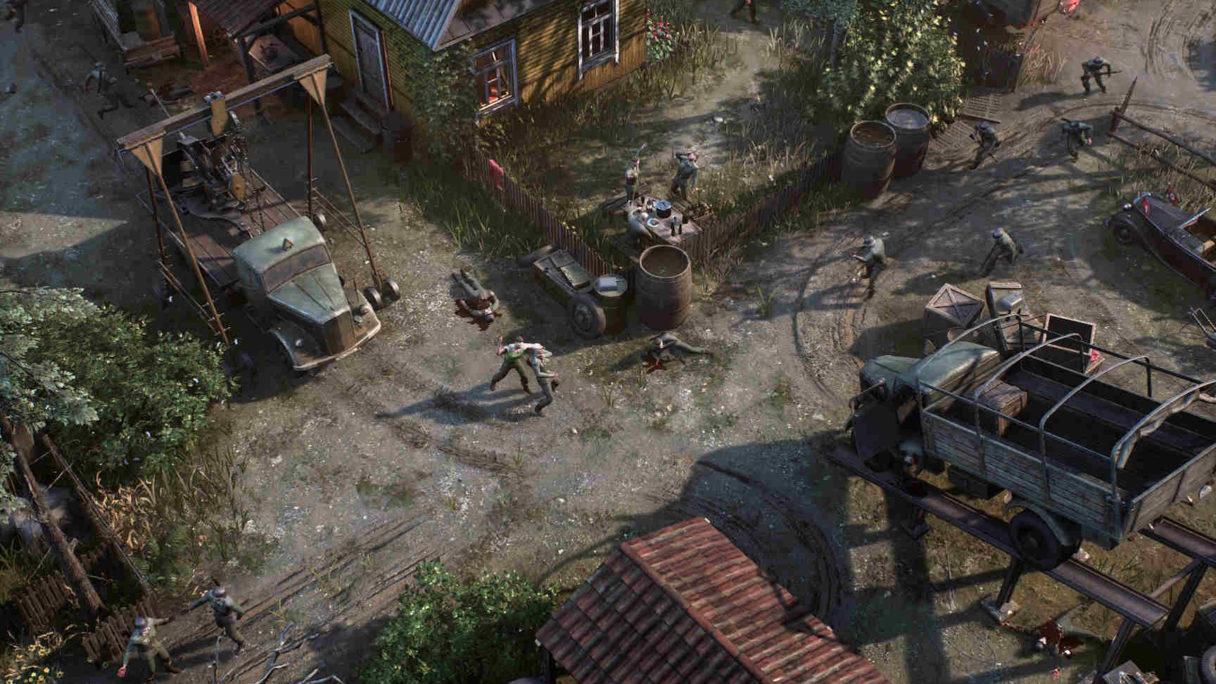 Na środku wsi panuje walka żołnierzy Wermachtu z polskimi partyzantami