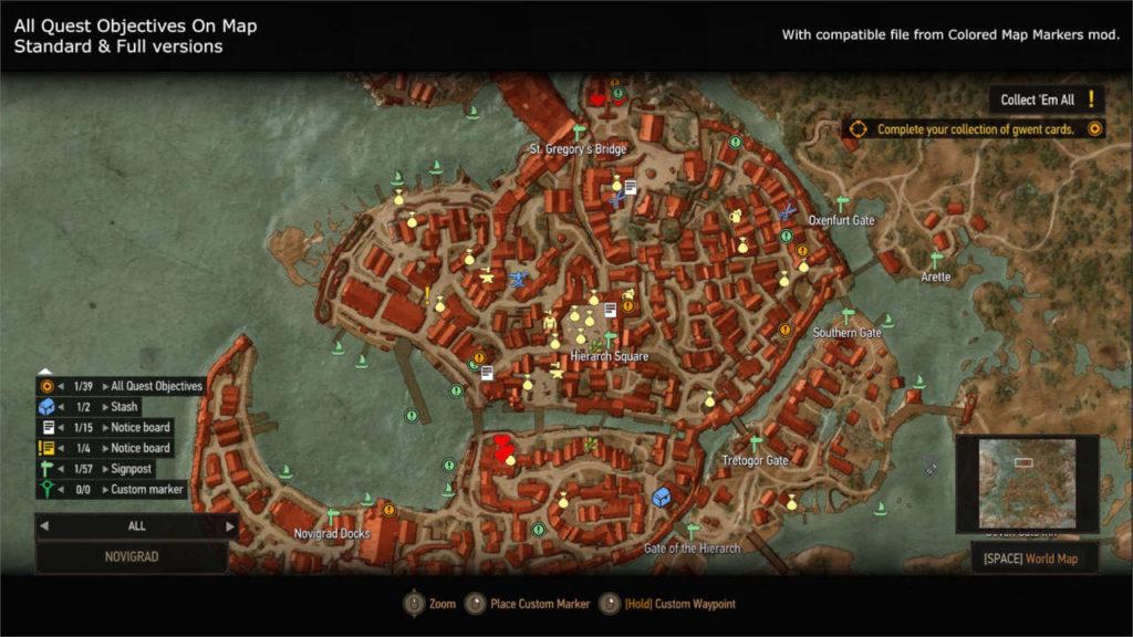 Wiedźmin 3 - All Quest Objectives On Map - mapa z dużą liczbą znaczników