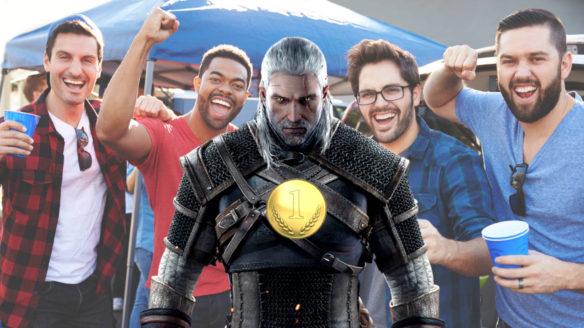 Wiedźmin 3 Dziki Gon - Advanced Sprint PG - Geralt ma złoty medal, a z tyłu jego koledzy cieszą się z jego zwycięstwa
