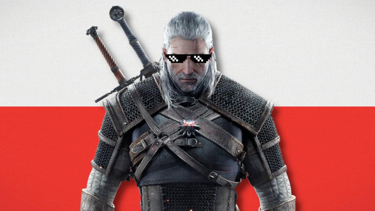 Wiedźmin 3 Dziki Gon - Geralt w swaggerskich okularach na tle flagi Polski