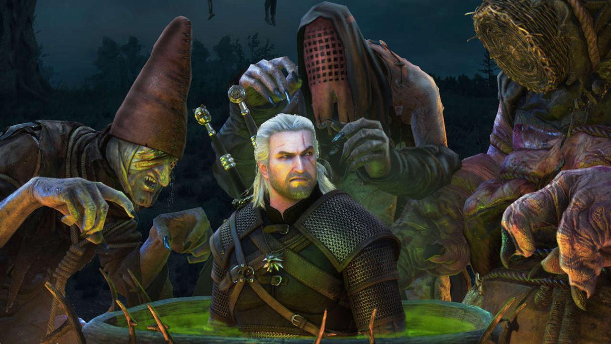 Wiedźmin 3 - Geralt w kotle i ucieszone wiedźmy wokół niego