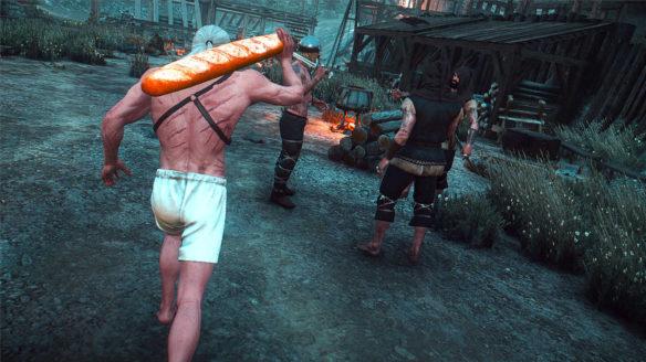 Wiedźmin 3 - Geralt biegnie w bieliźnie z ogromną bagietką na rzezimieszków