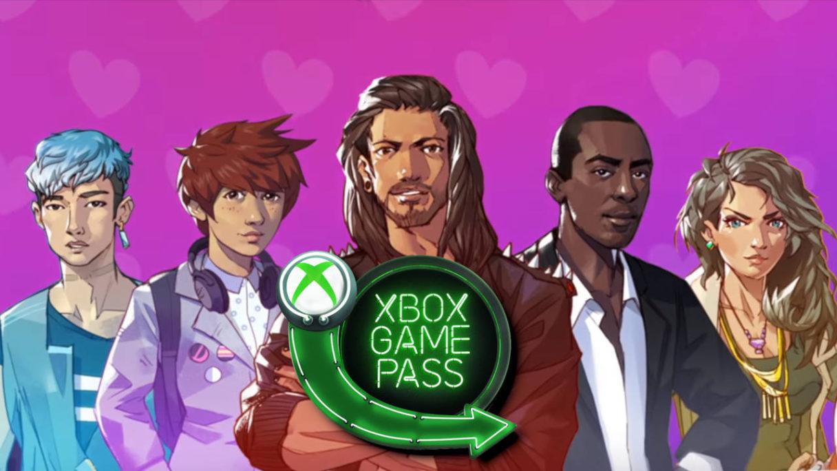 Xbox Game Pass - Boyfriend Dungeon - logo usługi na tle mężczyzn-mieczy z gry