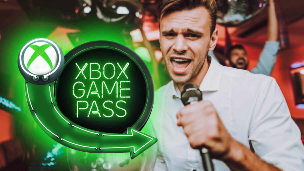 Xbox Game Pass logo - mężczyzna śpiewa w klubie do karaoke