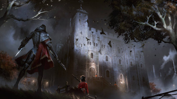 W nocy kobieta stoi przed budynkiem z bronią.