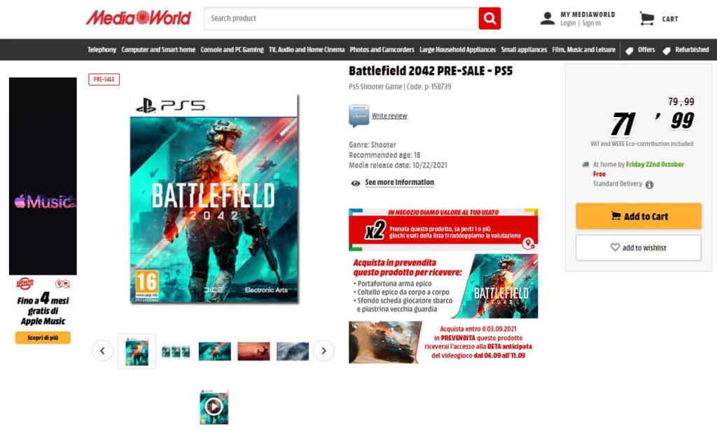 Battlefield 2042 - Italian MediaMarkt Leak - zrzut ekranu z włoskiej strony Media Markt, który sugeruje betę gry między 6 a 11 września 2021