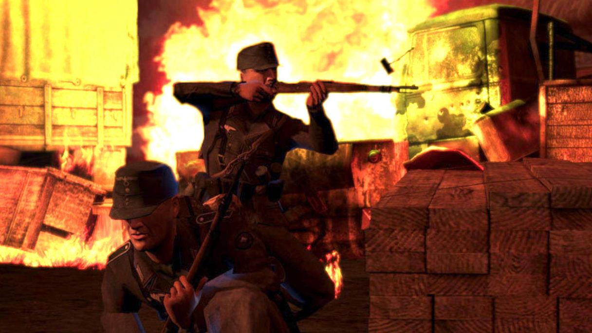 Brothers in Arms Hell's Highway - żołnierze na poligonie strzelają zza osłony- PG