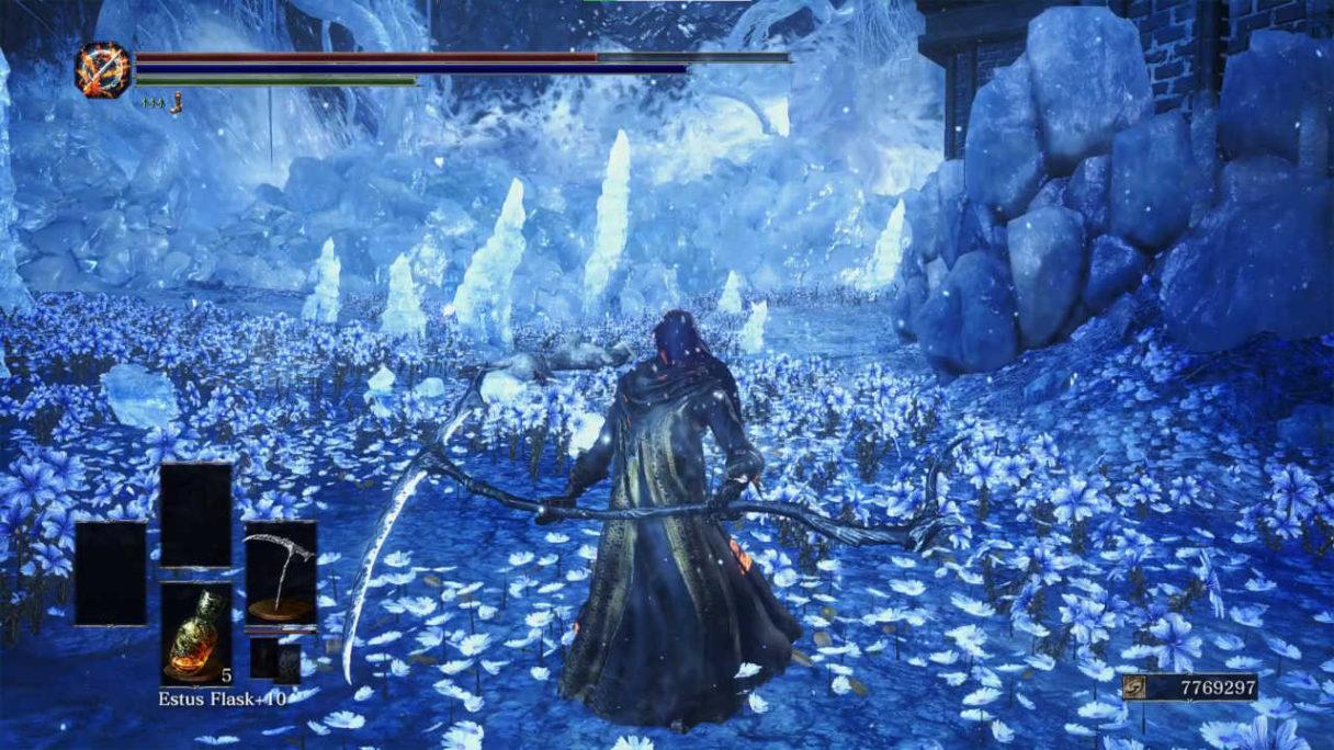 Dark Souls 3 - mod na wcielanie się w bossów - kostucha z ogromną kosą w lodowej jaskini - PG