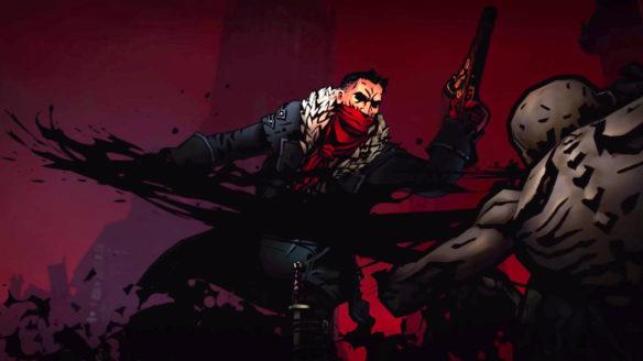 Darkest Dungeon 2 - mężczyzna w chuście na twarzy strzela do ghula