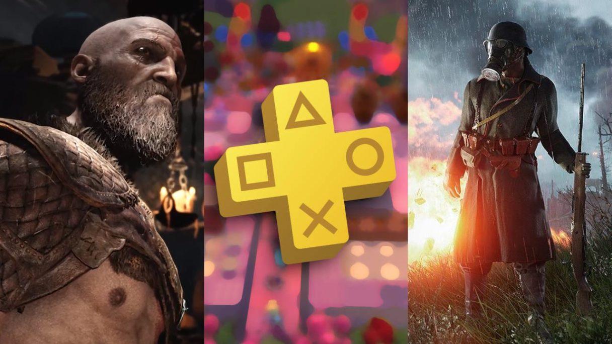 Kratos z God of War ma zdziwioną minę, logo PS Plus na tle rozmazanego kadru z Overcooked, żołnierz w masce z Battlefield 1