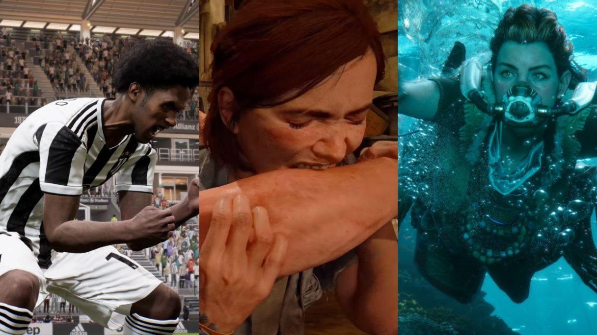 DoGRYwka - piłkarz z eFootball cieszy się, robiąc słowiański przykuc, Ellie z The Last of Us 2 gryzie Abby w rękę, Aloy z Horizon Forbidden West pływa pod wodą