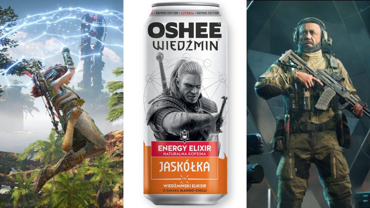 DoGRYwka - Aloy z Horizon Forbidden West leci na cybernetycznym parasolu. Puszka Jaskółki od Oshee z grafiką z Geraltem z Wiedźmin 3: Dziki Gon oraz żołnierz-inżynier z Battlefield 2042