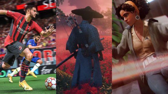 piłkarz z FIFA 22 goni za piłką, zbliżenie na głównego bohatera z Ghost of Tsushima i morderczyni z Deathloop w dynamicznej pozie strzela do wrogów