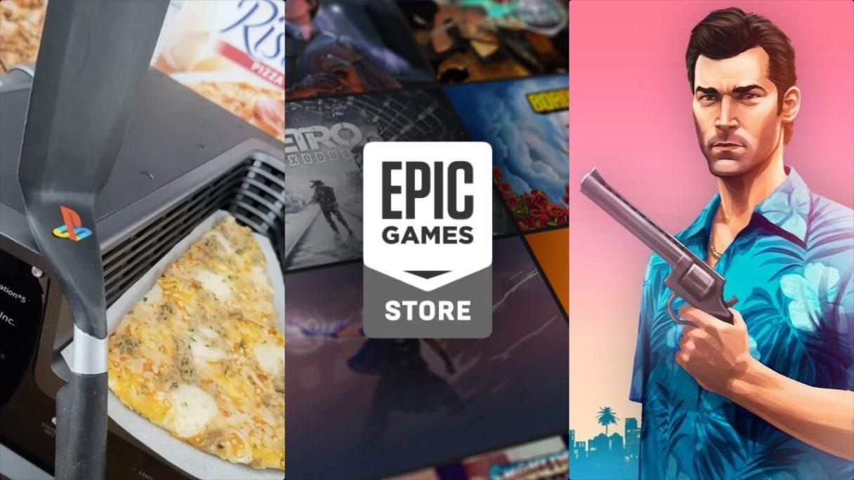 """Devkit PS5 ze szpatułką i pizzą, logo sklepu Epic Games Store oraz rzezimieszek z """"GTA VI"""" w hawajskiej koszuli z gnatem w ręku"""