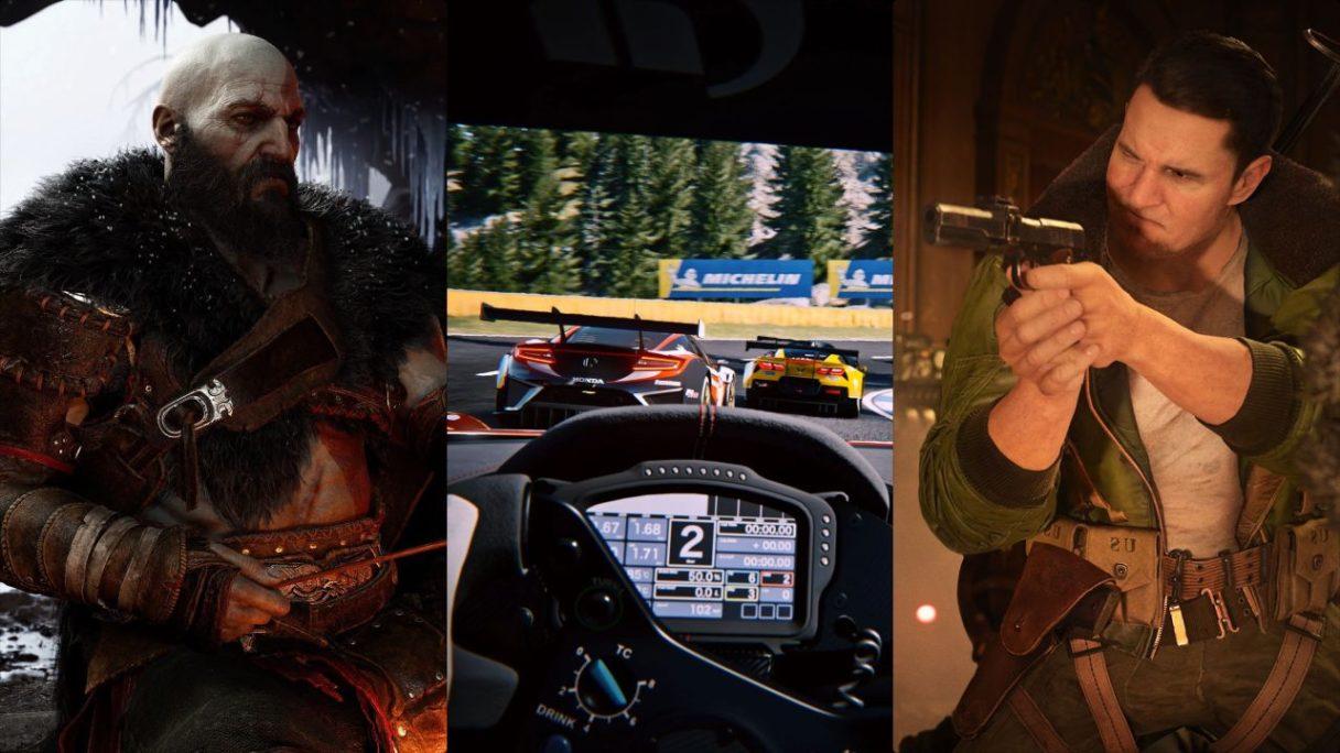Kratos z God of War, wyścig z perspektywy kierowcy z Gran Turismo 7, żołnierz mierzy z rewoleru z Call of Duty: Vanguard